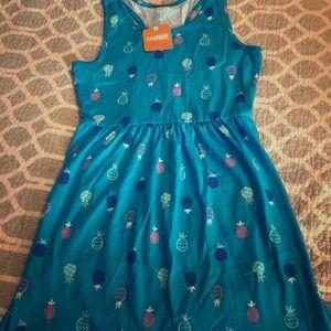 Blue Pineapple Dress L 10/12